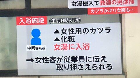 中岡浩容疑者は広島県立府中東高校教師!顔画像や女装画像は?結婚や子供は?入浴施設はどこ?